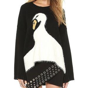 Wildfox Fluffy Swan Black Sweater